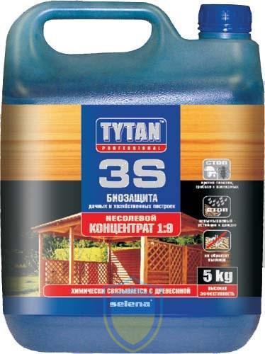 Tytan (Титан) 3S, биозащита строительной древесины, концентрат 1:9, 5л